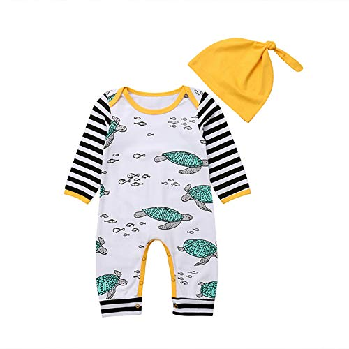 Newborn Baby Boys Girls Turtle Romper Jumpsuit with Hat Outfits Clothes Long Sleeve Cotton Pajamas Winter Clothing White