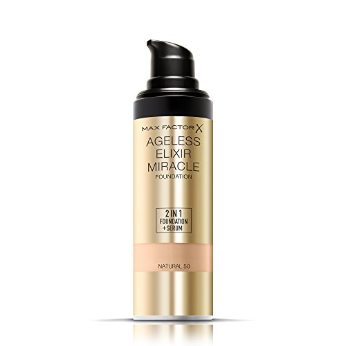 Max Factor Ageless Elixir 2 in 1 Foundation Plus Serum SPF 15, No.50 Natural, 1 Ounce