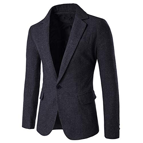 Men's Blazer Jacket Herringbone Sport Coat Smart Formal Dinner Cotton Suits Slim Fit One Button Notch Lapel Coat Black ()