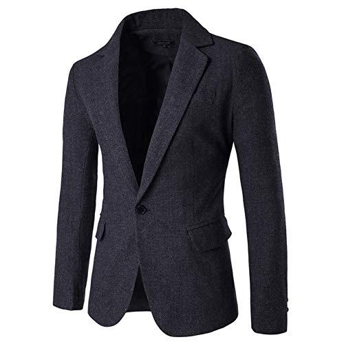 Men's Blazer Jacket Herringbone Sport Coat Smart Formal Dinner Cotton Suits Slim Fit One Button Notch Lapel Coat Black