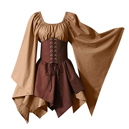 LOKODO Halloween Women Medieval Cosplay Costumes Gothic Retro Long Sleeve Corset Dress Witch Costume Khaki 2XL (Diy Little Red Riding Hood Costume For Adults)