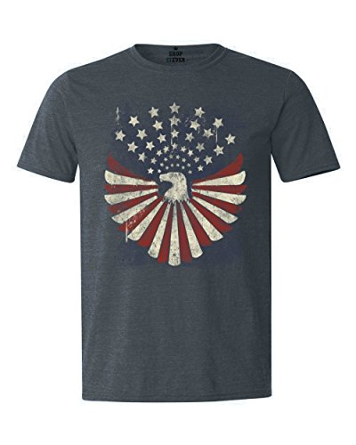 July Eagle Flag T-shirt (Shop4Ever USA Flag Bald Eagle T-shirt Patriotic 4th of July Shirts XX-LargeHeather Navy13534)
