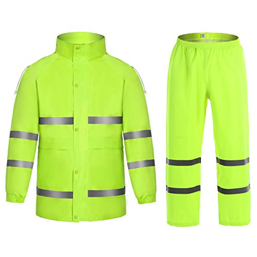 Safety Reflective Rain Suit - High Visibility Lime Rain Jacket & Pant for Men (M, Lime 02) ()