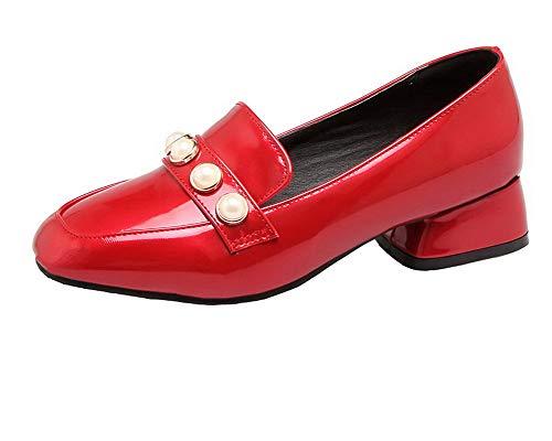 FBUIDD006872 Tirare Rosso Tacco AllhqFashion Ballet Flats Donna Puro Basso C0Zwv