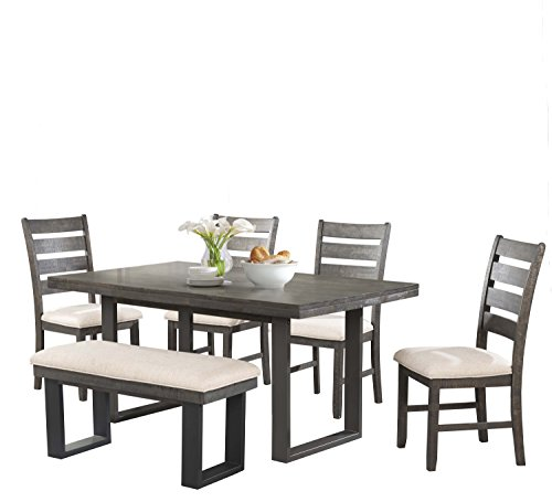 - Abbey Avenue D-DIX-SB6P 6 Piece Dixie Dining Set- Table, 4 Side Chairs & Bench, Dark Ash