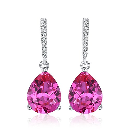 - JewelryPalace Classic 7ct Pear Created Pink Sapphire Drop Earrings 925 Sterling Silver