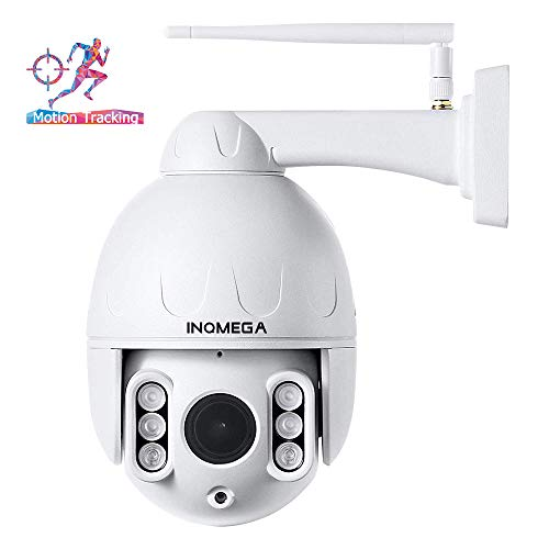 INQMEGA Outdoor PTZ WiFi Camera,2.4G Pan Tilt Dome Camera, 50ft Night Vision,Motion Alerts,Waterproof IP66,Surveillance 1080P IP Camera with Two Way Audio,Support Max 128GB SD Card