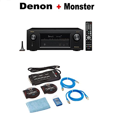 Denon AVR-X3400H 7.2 Channel Full 4K Ultra HD AV Receiver with Wi-Fi, Dolby Atmos, DTS:X, and HEOS + Monster Home Theater Accessory Bundle