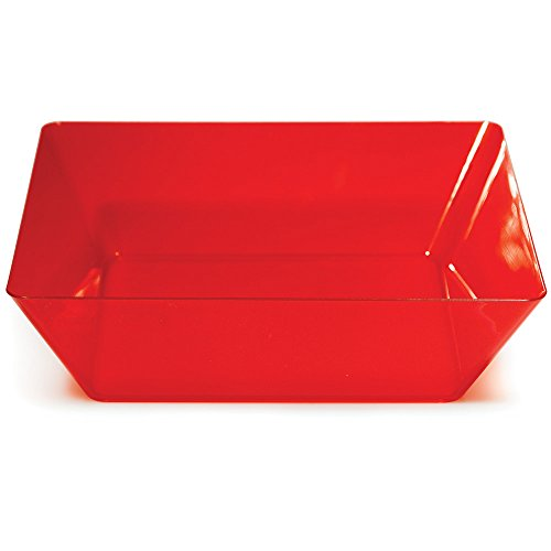 Creative Converting 6 Count Trendware Large Square Plastic Bowls, Translucent Red ()