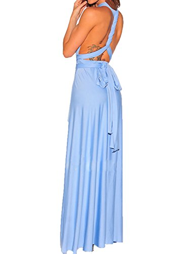 Clothink Women Cornflower Blue Halter Strappy Maxi Dress Cornflower Blue Small
