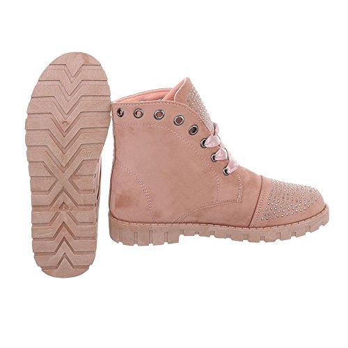 Ital-Design Schnürstiefeletten Damenschuhe Klassischer Stiefel Schnürer Schnürsenkel Stiefeletten Altrosa