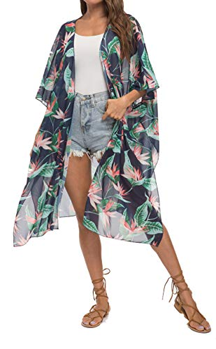 OLRAIN Women Floral Flowy Kimono Cardigan Long Bikini Beach Cover Up Loose Tops (X-Large, Green)