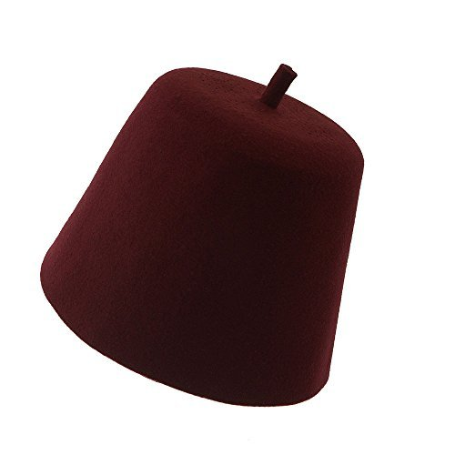 Kangaroo 100% Wool Red Fez Hat - Maroon/Burgundy Fez Hat