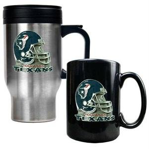 NFL Houston Texans Travel Mug & Ceramic Mug Set - Helmet Logo