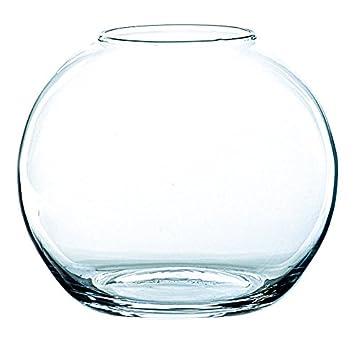 INNA Glas - Jarrón Redondo Tobi de Cristal, Transparente, 17 cm, Ø 19 cm - Florero de Mesa/Pecera Decorativa: Amazon.es: Hogar