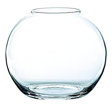 INNA Glas - Jarrón Redondo Tobi de Cristal, Transparente, 17 cm, Ø 19