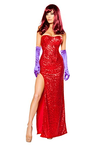 (2 PC Rabbit's Girlfriend Red Sequin Corset Top & Slit Maxi Skirt Party)