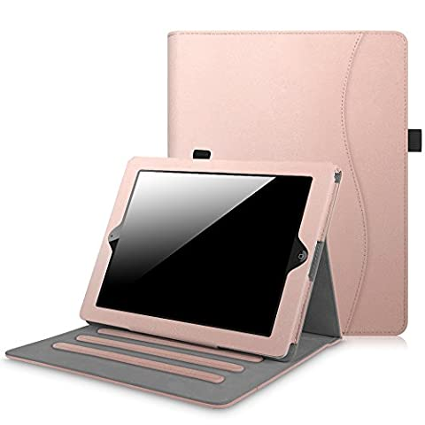 Fintie iPad 2/3/4 Case [Corner Protection] - [Multi-Angle Viewing] Folio Stand Smart Cover with Card Pocket, Auto Sleep / Wake for Apple iPad 2, iPad 3 & iPad 4th Gen with Retina Display, Rose (Ipad 4 Folio)