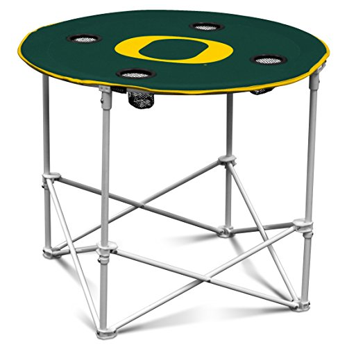 Round Oregon Ducks - Oregon Ducks Collapsible Round Table with 4 Cup Holders and Carry Bag