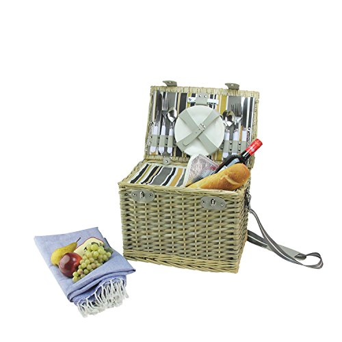 NORTHLIGHT 4-Person Hand Woven Warm Gray and Natural Willow Insulated Picnic Basket Set with Accessories