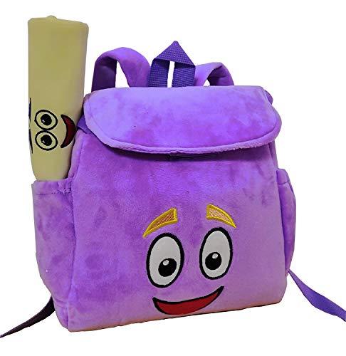 - XKYMADE 12inch Dora Explorer Backpack Rescue Bag with Map,Pre-Kindergarten Toys Purple Plush Backpack (Crystal Purple Dora Backpack)
