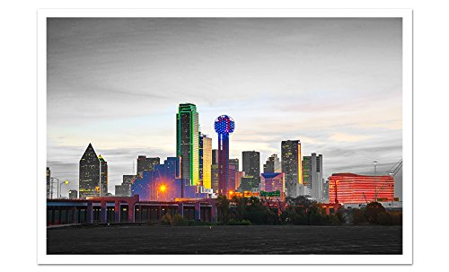 Dallas - Touch of Color Skylines - 36x24 Matte Poster Print Wall Art ToC