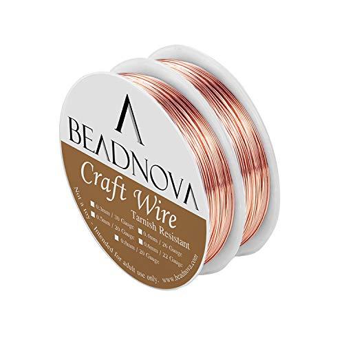 BEADNOVA Bare Copper Wire Tarnish Resistant Jewelry Making Wire (Copper, 26gauge) ()