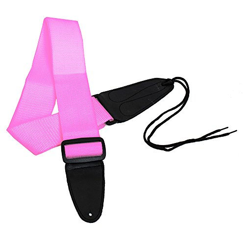Performance Plus GS1PK Electric or Acoustic Pink Guitar Strap Including Ties for Acoustics
