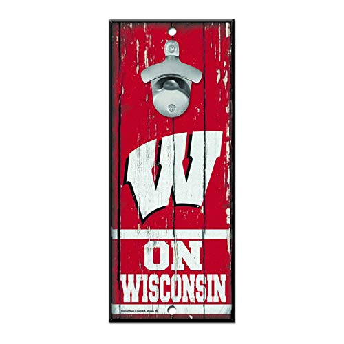 - Wisconsin Badgers NCAA Bottle Opener Wall Sign - Team Color,