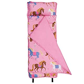 Wildkin Microfiber Nap Mat with Pillow for Toddler Boys and Girls, Ideal for Daycare and Preschool, Measures 50 x 1.5 x 20 Inches, Mom's Choice Award Winner, BPA-Free, Olive Kids (Horses)