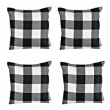 Steven.Smith 4 Pack Farmhouse Decorative Black White Buffalo Check Plaids Throw Pillow Cases Cotton Linen Decorative Cushion Cover Throw Pillowcase 18x18 inch Fall Halloween Home Decor