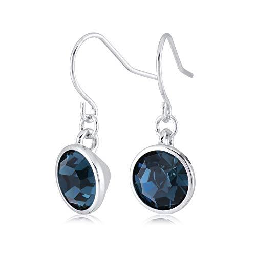 - UPSERA Dark Blue Drop Dangle Earrings for Women Girls Crystals from Swarovski Silver Tone Plated Earrings Jewelry