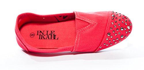 Roze Label Dames Spiked Studded Teen Opsteekbare Canvas Plateaus Koraal