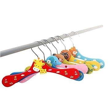 OULII Pack de 5 para bebé, diseño de perchero de madera infantil gancho Percha-Tech-Pantalón de Rack () varios modelos