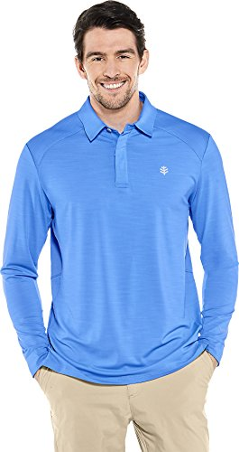 Coolibar UPF 50+ Men's Long Sleeve Performance Polo - Sun Protective (X-Large- Spring Blue)