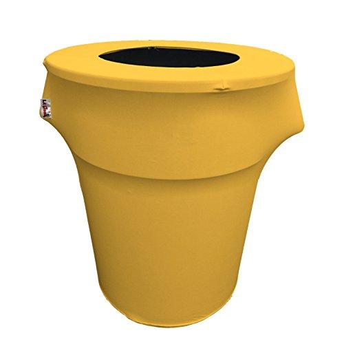 LA Linen Stretch Spandex Trash Can Cover 44-Gallon Round, Yellow