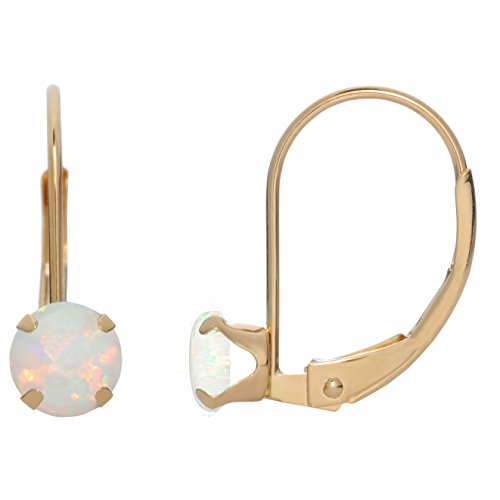 5MM Round Natural Opal 10K Yellow Gold Leverback Earrings ()