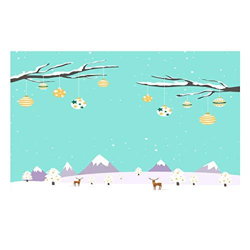 Libaoge Fish Tank Background Christmas Trees with Balloon Reindeers Snow Mountain Aquarium Backdrop Sticker Wallpaper Vinyl Photo Decoration PVC Adhesive Decor Paper Poster, 60.8