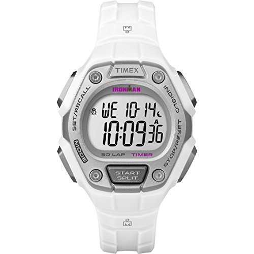 Timex Women's Ironman 30-Lap Digital Quartz Mid-Size Watch, White/Silver-Tone - (100m White Dial Watch)