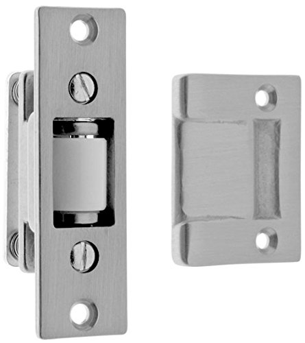 Satin Brass Latches (idh by St. Simons 12017-26D Premium Quality Solid Brass Heavy Duty Silent Roller Latch with Adjustable Square Strike, Satin Chrome)