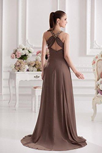 Braun Perlen GEORGE Reizvolle Formelle Abendkleid Brown BRIDE Ausschnitt langen V IIzHqF