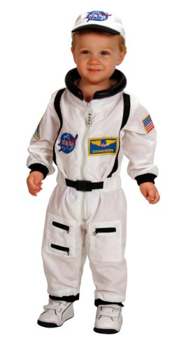 (Aeromax Jr. Astronaut Suit with Embroidered Cap and NASA patches, WHITE, Size 18)