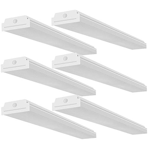 FaithSail 4FT LED Wraparound 40W Wrap Light, 4400lm, 4000K Neutral White, 4 Foot LED Shop Lights for Garage, 48 Inch LED Light Fixtures Ceiling Mount Office Light, Fluorescent Tube Replacement, 6 Pack (Best Fluorescent Lights For Office)