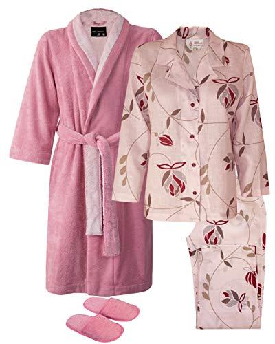 Armani International Angelic Linen Pajamas Terry Robe Slippers Peony X-Large (Women Armani Slippers)