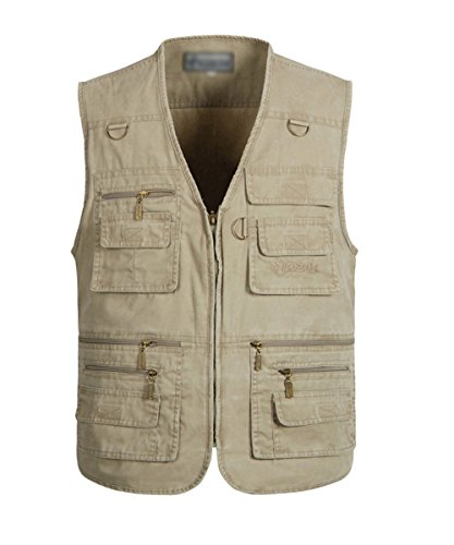 (Mens Fashion Casual Work Utility Hunting Travels Sports Vest With Multi Pockets Khaki US 3XL/Label 7XL)
