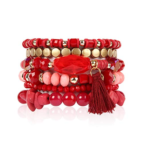 (RIAH FASHION Bead Multi Layer Versatile Statement Bracelets - Stackable Beaded Strand Stretch Bangles Sparkly Crystal, Tassel Charm (Coin Bead/Tassel - Burgundy))