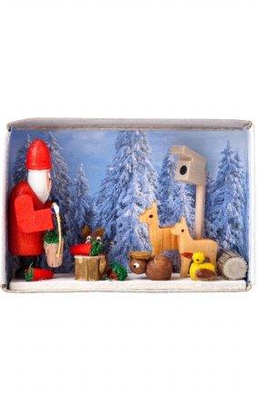 DREG Alexander Taron Dregeno Santa with Forest Animals Matchbox - 1.5''H x 2.25''W x .75''D