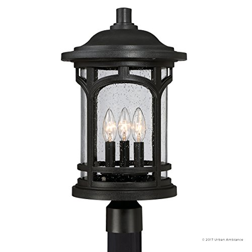 Luxury Rustic Outdoor Post Light, Medium Size: 19''H x 11''W, with Colonial Style Elements, Wrought Iron Design, High-End Black Silk Finish and Seeded Glass, UQL1106 by Urban Ambiance by Urban Ambiance (Image #7)