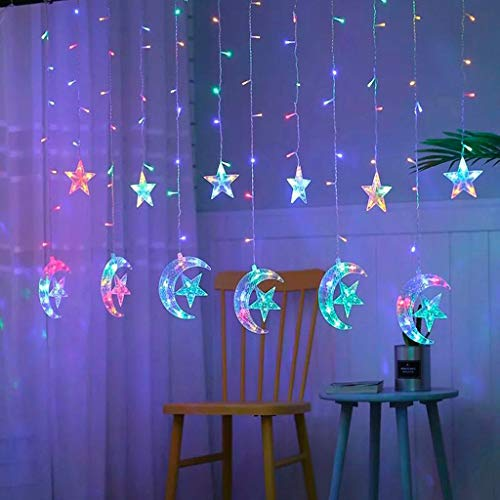 Ramadan and Eid Lighthouse- Waterproof 138 LED Stars Curtain String Lights - 8.2 Ft Lamp - Patio Lights for Festival Party/Home/Garden/Windows/Christmas/Bedroom/Outdoor Indoor Wall Decorations