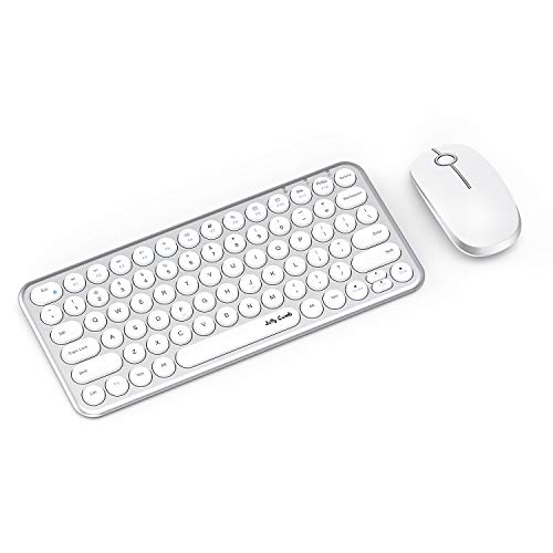 Wireless Keyboard and Mouse, Jelly Comb KS45 2.4GHz USB Keyboard and Mouse Combo for PC, Laptop, Window XP 7/8/9 - Ergonomic Round Concave & Convex Keycaps (White Silver) (Logistics Keyboard Ipad)